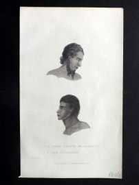 Cuvier C1830 HCol Print. Aged Native of Otaheite, New Hollander. Australia